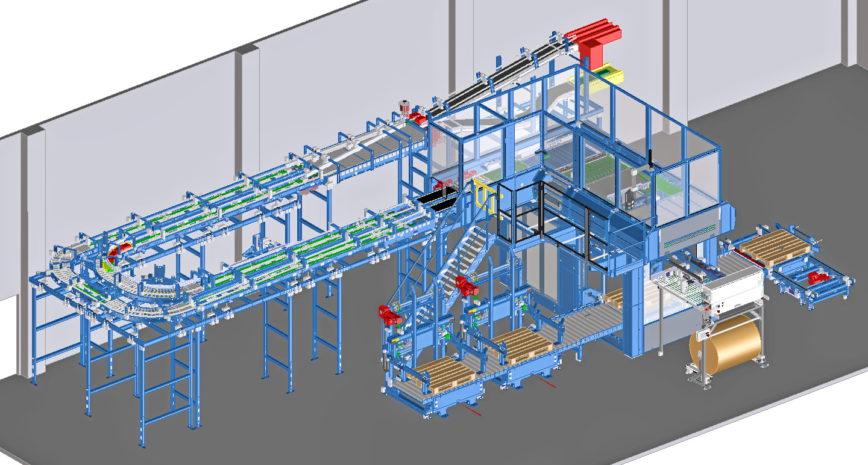 Paletizační linka přináší vysoký výkon na malém prostoru.
